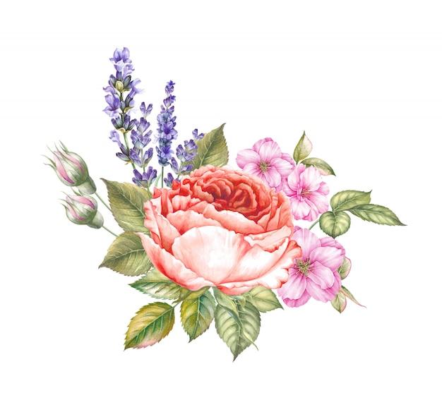 Fantastischer blumenstrauß in der vintagen aquarellart für ihr einladungsdesign.