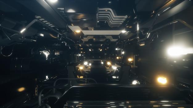 Fantastischer flug im metallkorridor eines raumschiffs