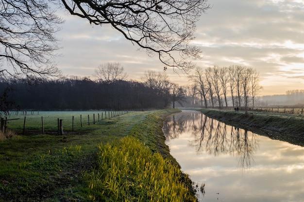 Fantastischer ruhiger fluss mit frischem gras im sonnenuntergang. schöne grüne winterlandschaft an einem kalten tag morgens in den niederlanden