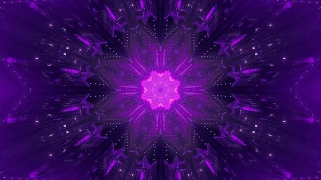 Fantastischer runder raumtunnel des abstrakten hintergrunds mit leuchtendem geometrischem blumenblumenornament des neons in der mitte und funkelt in der dunkelheit