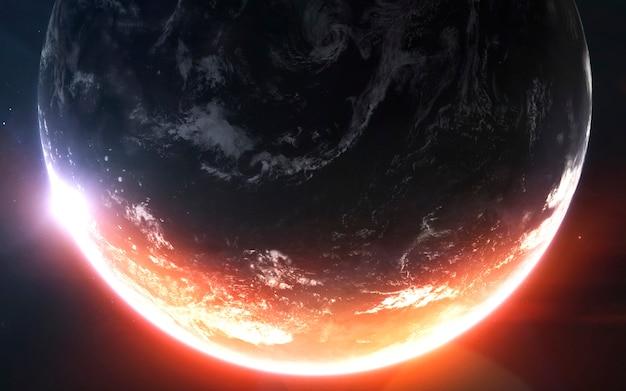 Fantastischer schöner erdplanet im kalten und warmen licht.