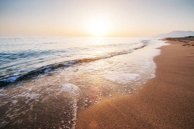 Fantastischer sonnenuntergang am strand. schöne landschaft