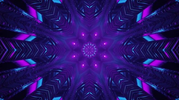 Fantastisches portal mit neonbeleuchtung 4k uhd 3d-illustration