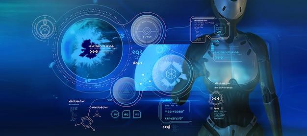 Fantastisches poster mit außerirdischen infografiken und humanoidem roboter 3d-rendering