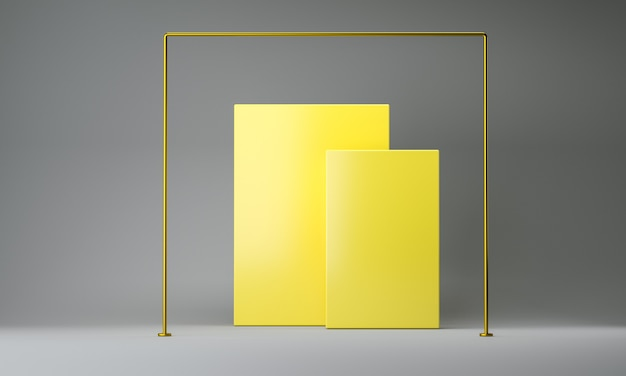 Farbe des jahres 2021. abstraktes gelbes und graues leeres geometrisches 3d rendern