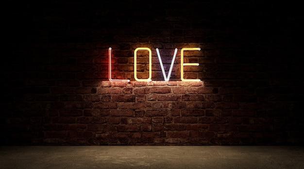 Farbe neonlicht der liebe zeichen brett symbol auf backsteinmauer