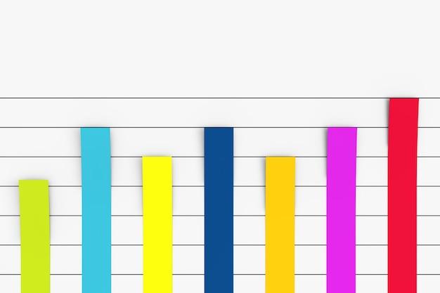 Farbe spalte flat graph chart infografiken papierelemente auf weißem hintergrund. 3d-rendering