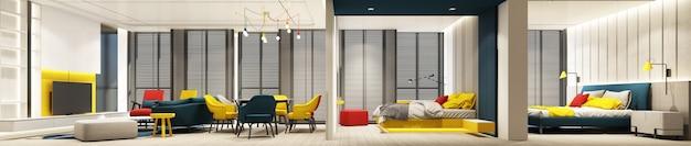 Farbenfrohes wohn-, ess- und schlafzimmer-innendesign mit feature-wand in rot-blau-gelb- und grauton mit möbeln auf holzboden, decke und holzjalousie am großen fenster 3d-render-panorama
