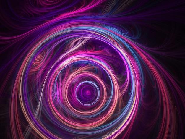 Farbige abstrakte runde kurven und linien auf schwarzem hintergrund