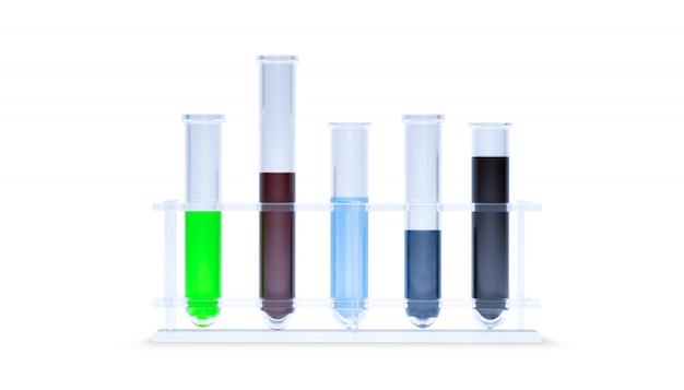 Farbige flüssigkeiten in fünf reagenzgläsern auf weißer oberfläche isoliert. set laborglaswaren. reagenzglas für wissenschaftliche und medizinische glaswaren, chemisches labor. 3d-rendering