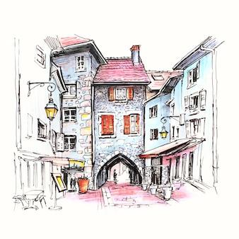 Farbige handzeichnung, tor grabtor in der straße rue sainte-claire in der altstadt von annecy