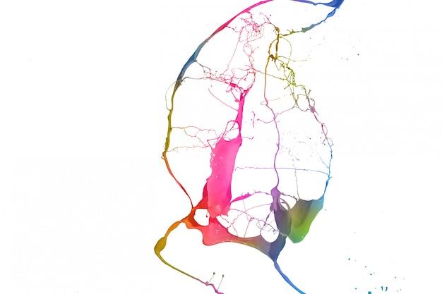 Farbige lackspritzer getrennt auf weißem hintergrund