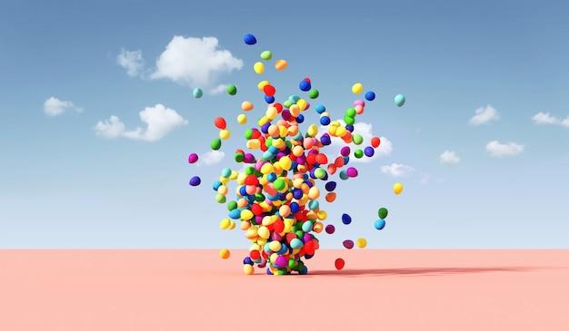 Farbige luftballons, die auf trendigem naturhintergrund des minimalismus schweben