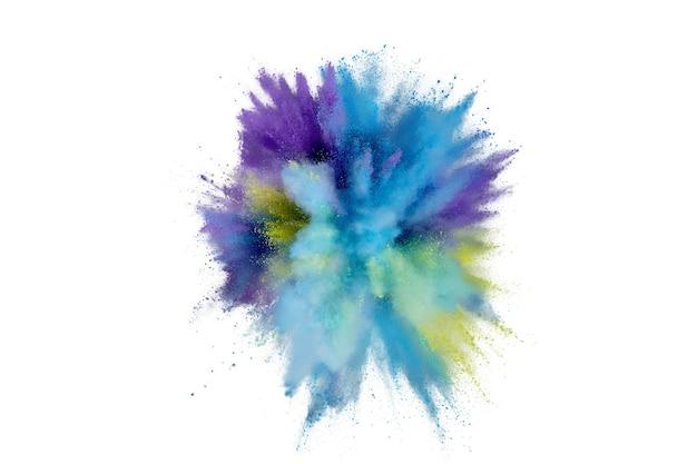 Farbige pulverexplosion auf weißem hintergrund. abstrakter nahaufnahmestaub auf hintergrund. bunte explodieren. holi paint malen