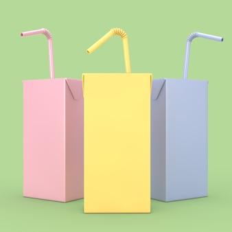 Farbige saft-, joghurt- oder milchbox mit trinkhalm und freiem platz für ihr design auf grünem hintergrund. 3d-rendering