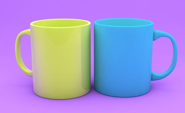 Farbige tassen auf einem farbigen hintergrund 3d-rendering