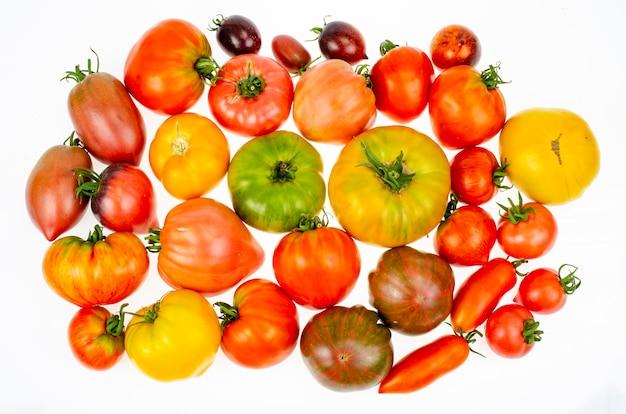 Farbige tomaten verschiedener sorten auf weißem hintergrund. studiofoto.