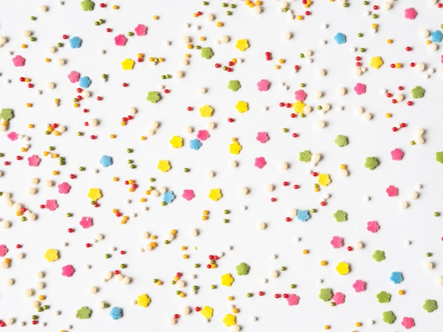 Farbiger zucker besprüht hintergrund, zucker besprüht punkte, dekoration für kuchen und bäckerei