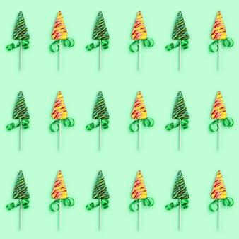 Farbiges kreatives nahtloses muster der süßigkeit für neujahr oder weihnachten.