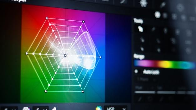 Farbkorrekturtools oder rgb-farbkorrekturanzeige auf dem monitor im postproduktionsprozess