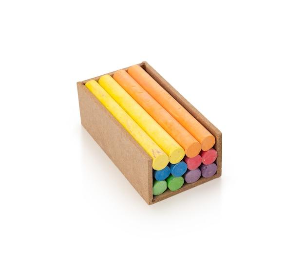 Farbkreidestift auf isoliertem weißem hintergrund
