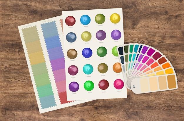 Farbmustervorlage und diagramm auf holzhintergrund