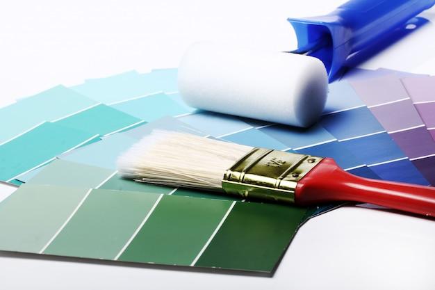 Farbpalette, katalog oder schema und walze