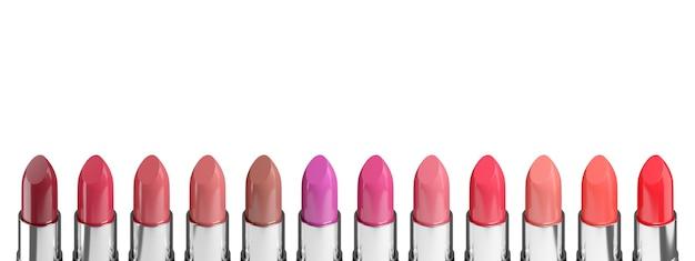 Farbpalette verschiedener lippenstifte lokalisiert auf weißem hintergrund. 3d-illustration.