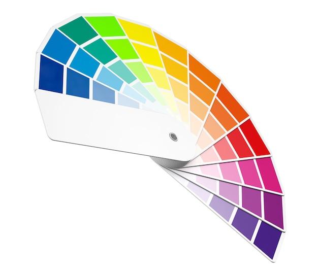 Farbpaletten-guide auf weißem hintergrund. 3d-rendering