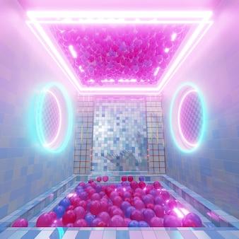 Farbpastell mit geometrischem raumhintergrund für werbung in der retro- und sci-fi-pop-art-szene der 90er jahre