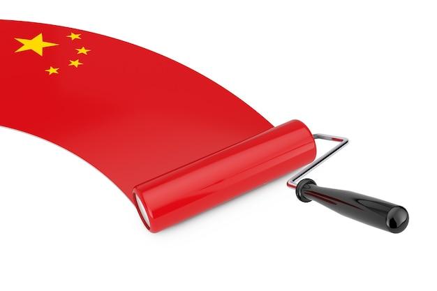 Farbroller-pinsel mit china-flagge auf weißem hintergrund. 3d-rendering