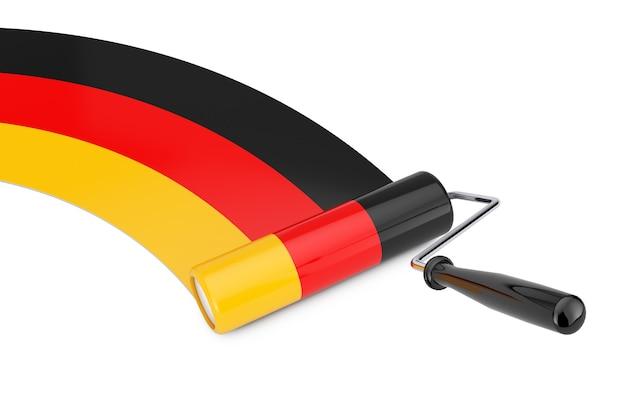 Farbroller-pinsel mit deutschland-flagge auf weißem hintergrund. 3d-rendering