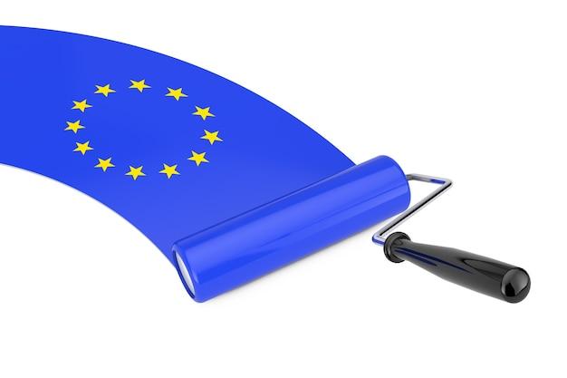 Farbroller-pinsel mit flagge der europäischen union auf weißem hintergrund. 3d-rendering