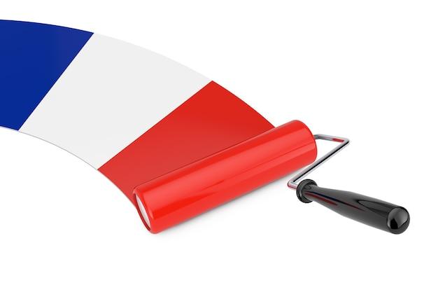 Farbroller-pinsel mit frankreich-flagge auf weißem hintergrund. 3d-rendering