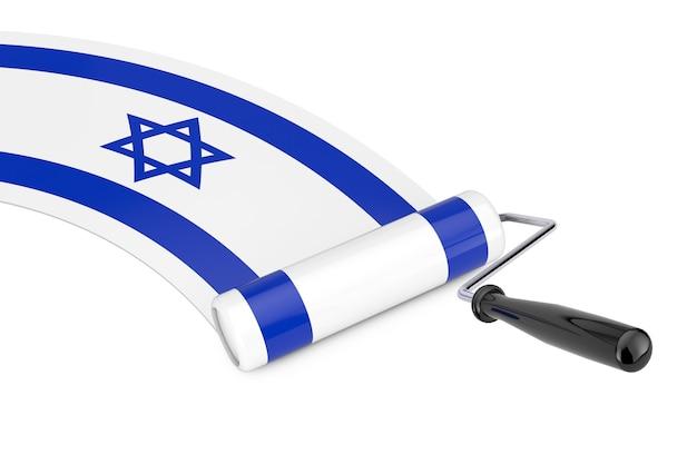 Farbroller-pinsel mit israel-flagge auf weißem hintergrund. 3d-rendering