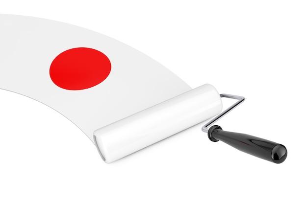 Farbroller-pinsel mit japan-flagge auf weißem hintergrund. 3d-rendering