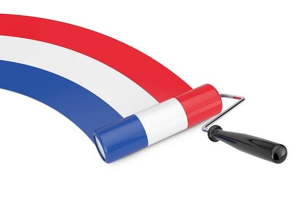 Farbroller-pinsel mit niederländischer flagge auf weißem hintergrund. 3d-rendering