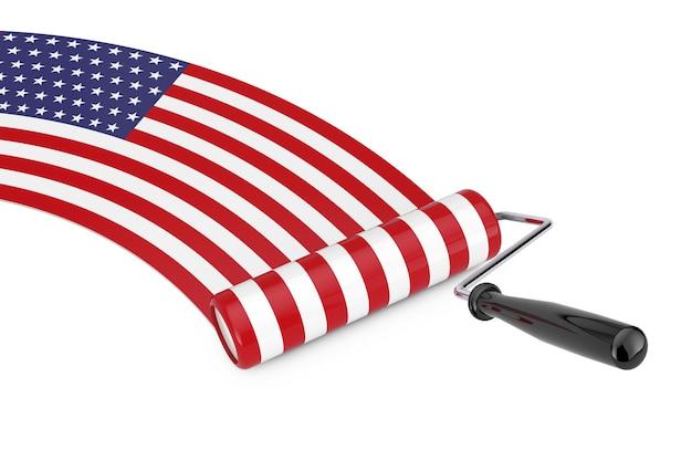 Farbroller-pinsel mit usa-flagge auf weißem hintergrund. 3d-rendering