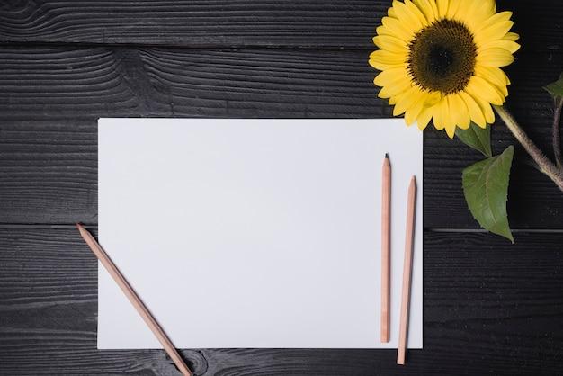 Farbstifte auf weißbuch mit sonnenblume über hölzernem strukturiertem hintergrund