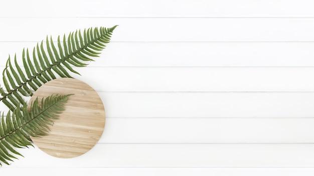 Farnblätter und kreisholzplatte über weißen holzpaneelen.