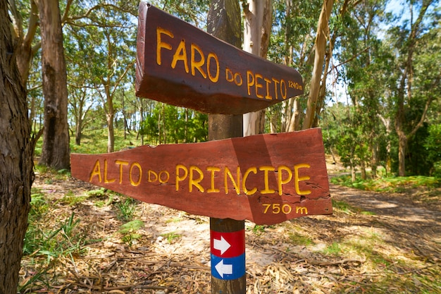 Faro peito-verkehrsschild zum leuchtturm islas cies spain
