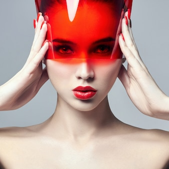 Fashion art photo reine perfekte haut natürliches make-up