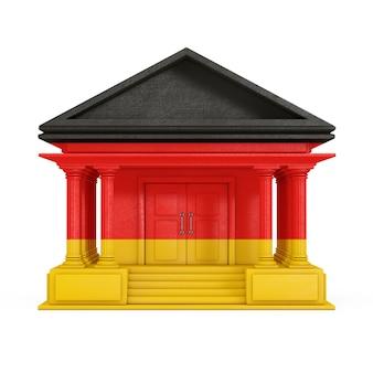 Fassade der bank, des gerichts oder des regierungsgebäudes mit deutschland-flagge auf weißem hintergrund 3d-rendering