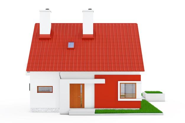 Fassade des modernen cottage-hauses mit rotem dach und grünem gras auf weißem hintergrund. 3d-rendering