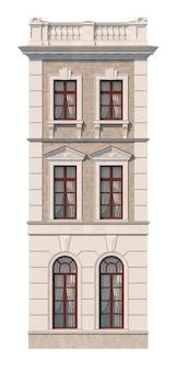 Fassade eines dreistöckigen klassischen hauses mit fenstern. 3d-rendering