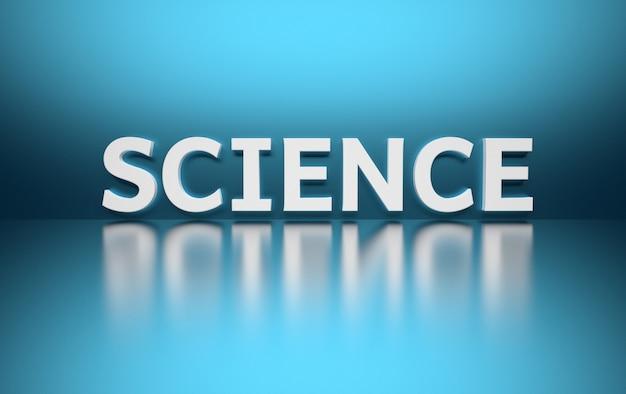 Fassen sie die wissenschaft ab, die in große mutige weiße buchstaben geschrieben wird und auf blau gesetzt ist