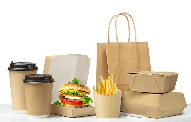 Fast food großes mittagessen set isoliert auf weiss