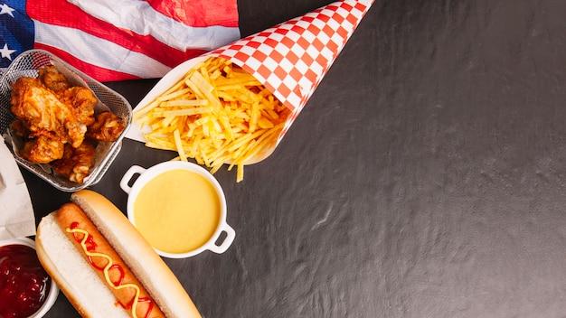 Fast food komposition mit platz auf der rechten seite