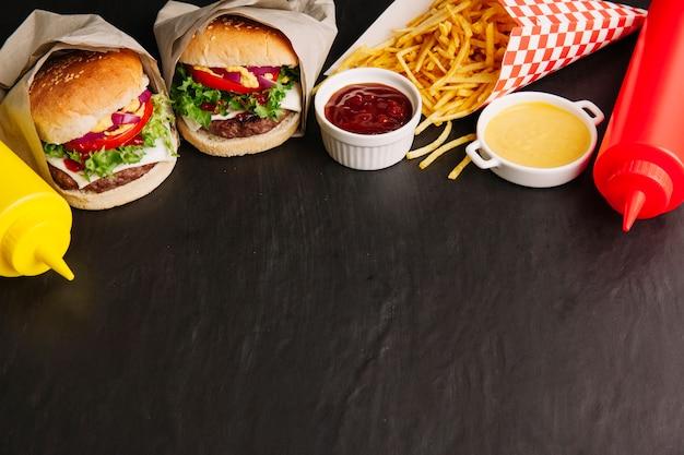 Fast food und platz auf der unterseite