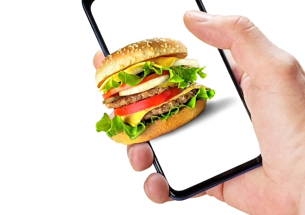 Fastfood online bestellen. hand hält telefon mit hamburger auf dem bildschirm